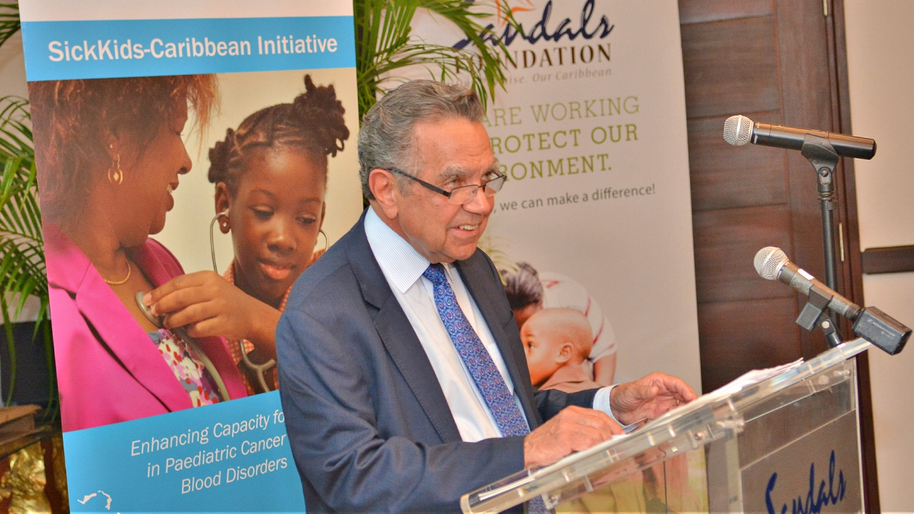 Dr. Victor Blanchette, McCaig - Magee Family Medical Director for the SickKids-Caribbean Initiative, expressed gratitude to the Sandals Foundation at a recent event in Barbados to announce Sandals Foundation's pledge to donate additional funds to the Initiative.