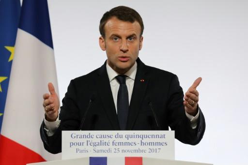 POOL/AFP / LUDOVIC MARIN  Le président Emmanuel Macron, le 25 novembre 2017 à Paris