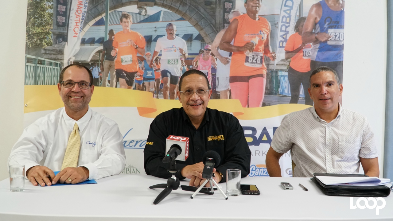 (L-R) John Williams, CEO of Cave Shepherd Co. Ltd; CEO of the BTMI, William Griffith; Run Barbados Event Director, Zary Evelyn.