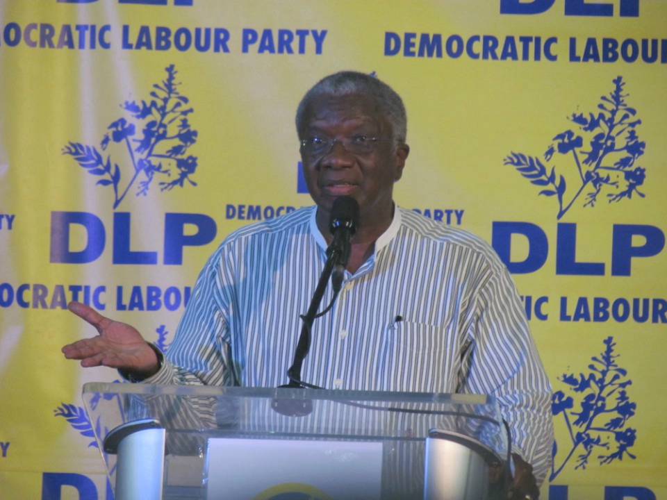 Prime Minister Freundel Stuart speaking at a political meeting on Sunday.