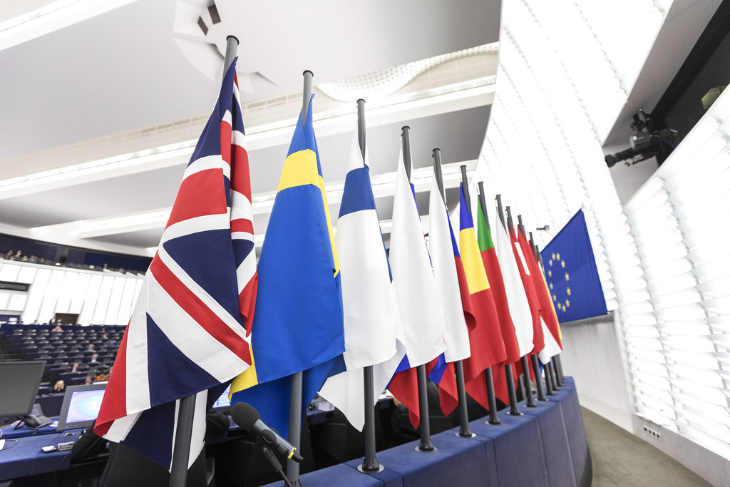 The British flag and others flags from EU countries are pictured at the European Parliament in Strasbourg, eastern France. (AP Photo/Jean-Francois Badias)