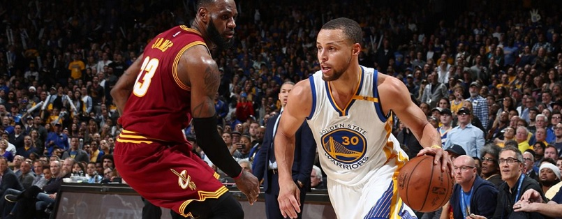 ac7e79c4365 Golden State Warriors star Steph Curry drives past Cleveland Cavaliers  forward LeBron James in last season s
