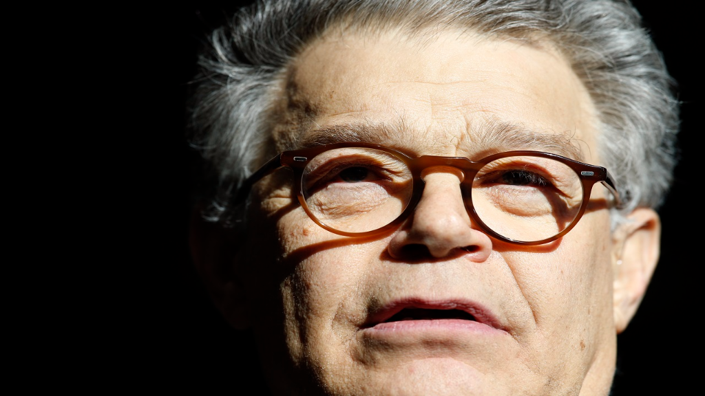 In this Nov. 27, 2017 photo, Sen. Al Franken, D-Minn., speaks to the media on Capitol Hill in Washington. Franken is denying an accusation by a former Democratic congressional aide that he tried to forcibly kiss her after a taping of his radio show in 2006.