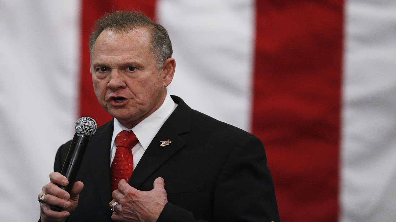 In this Dec. 11, 2017, file photo, U.S. Senate candidate Roy Moore speaks at a campaign rally in Midland City, Ala.