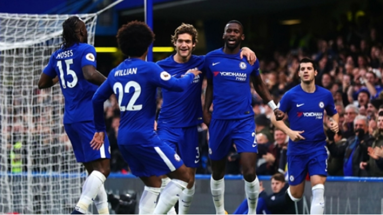Chelsea celebrate Antonio Rudiger's opener against Stoke City.