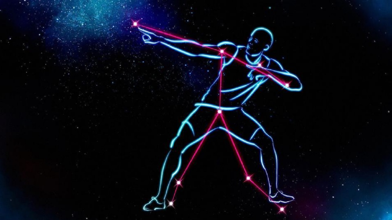 A handout digital graphic image created and released by The Big Bang Fair on December 13, in partnership with astronomers from the University of Birmingham, shows a new constellation based on and created to celebrate Jamaican sprinter Usain Bolt.