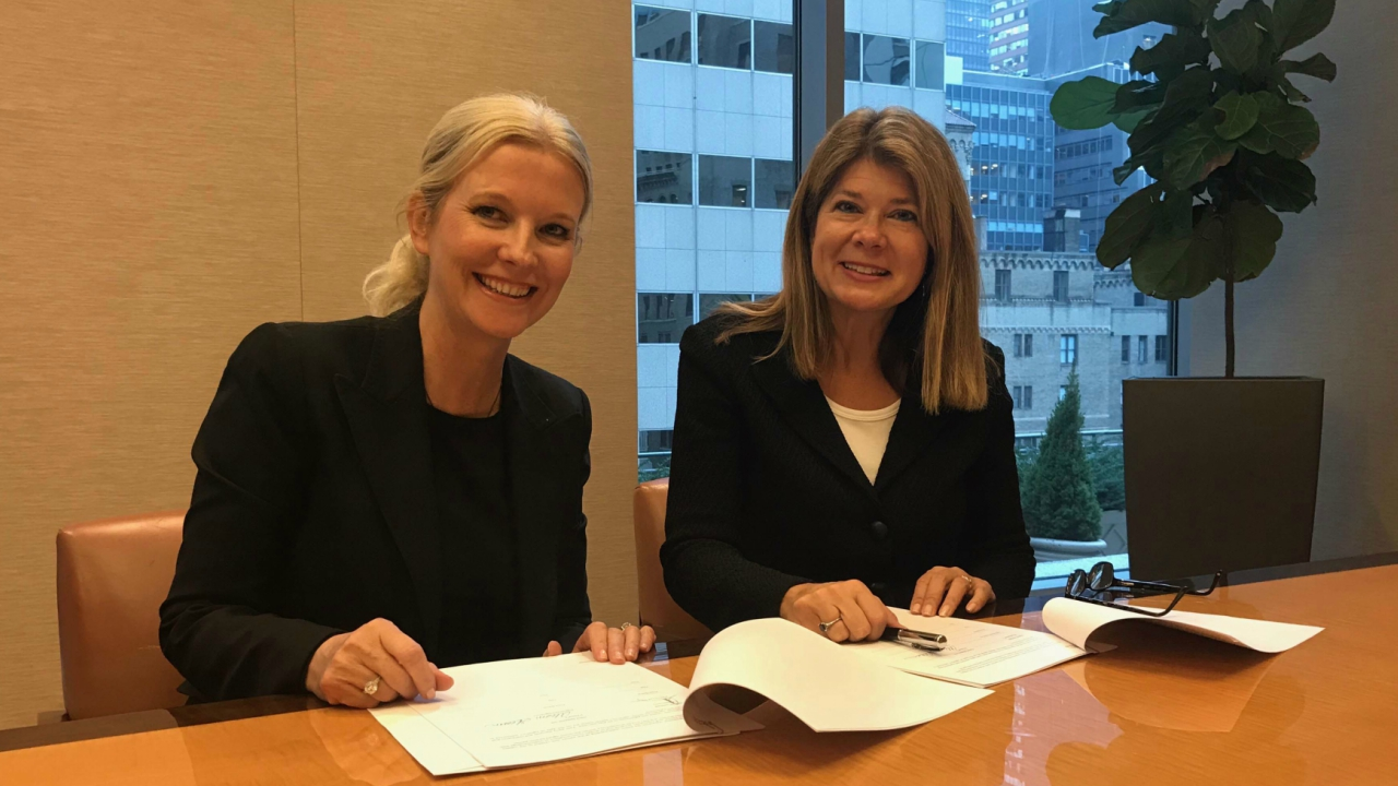 Vanessa Slowey, Digicel CEO Caribbean and Central America (left) and Alison Gleeson, Senior Vice President of the Americas, Cisco (right).