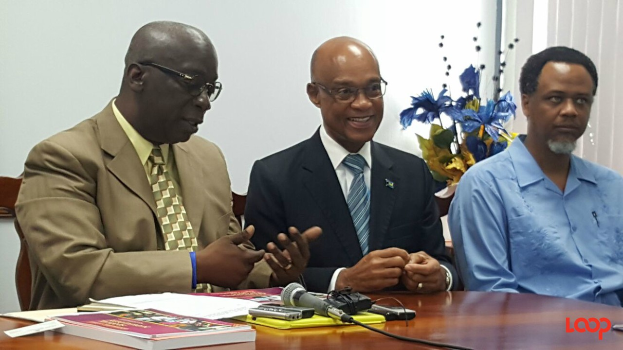 Meeting of education officials at the Ministry of Education in Barbados. (L-R) Minister Ronald Jones, Bahamian Minister The Hon. Jeffrey Lloyd and the Bahamian Director of Education (Ag.) Marcellus Taylor.