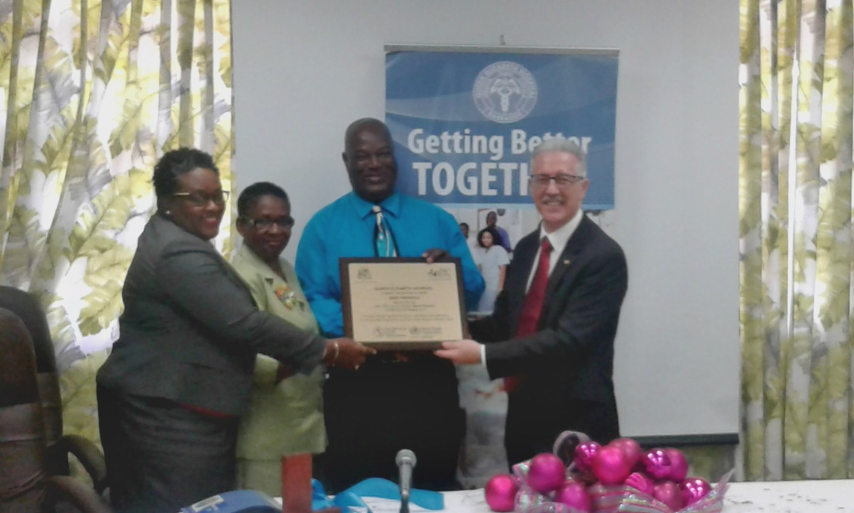 (L-R) Permanent Secretary in the Ministry of Health, Gabrielle Springer; Directorate of Nursing Services, Marita Harris; Director of Nursing Services, Henderson Pinder and PAHO/WHO representative, Dr. Godfrey Xuereb.