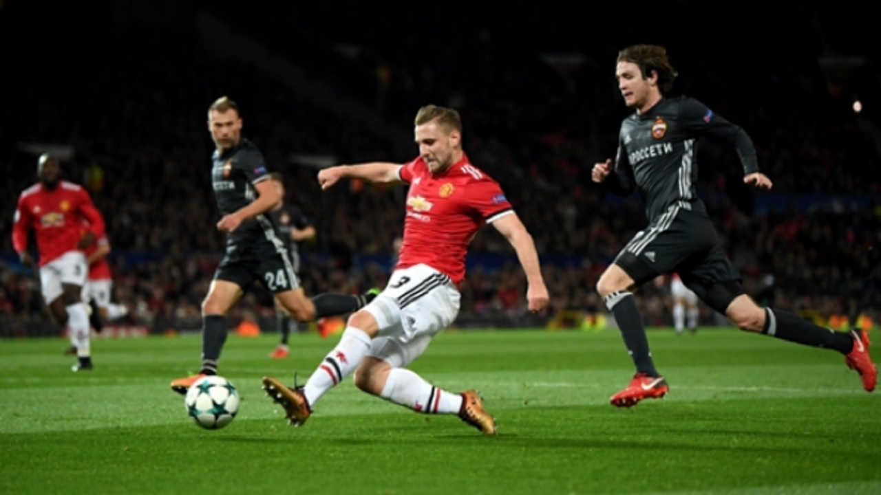 Luke Shaw shoots in Manchester United's win over CSKA Moscow.
