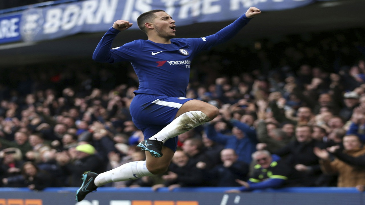 Chelsea's Eden Hazard celebrates scoring his side's first goal of the English Premier League game against Newcastle United at Stamford Bridge, London. Saturday. Dec. 2, 2017.