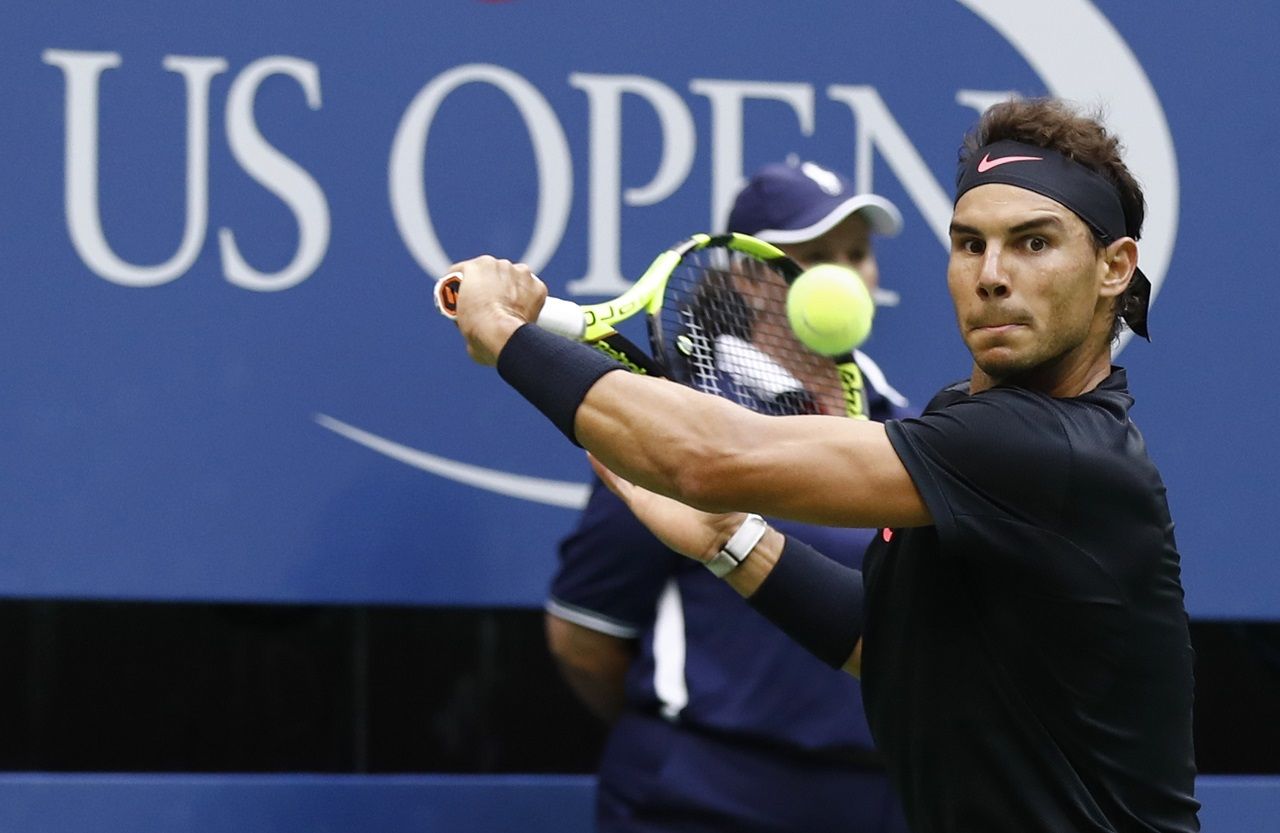 Rafael Nadal, of Spain, returns a shot from Kevin Anderson, of South Africa, during the men's singles final of the U.S. Open tennis tournament, Sunday, Sept. 10, 2017, in New York.