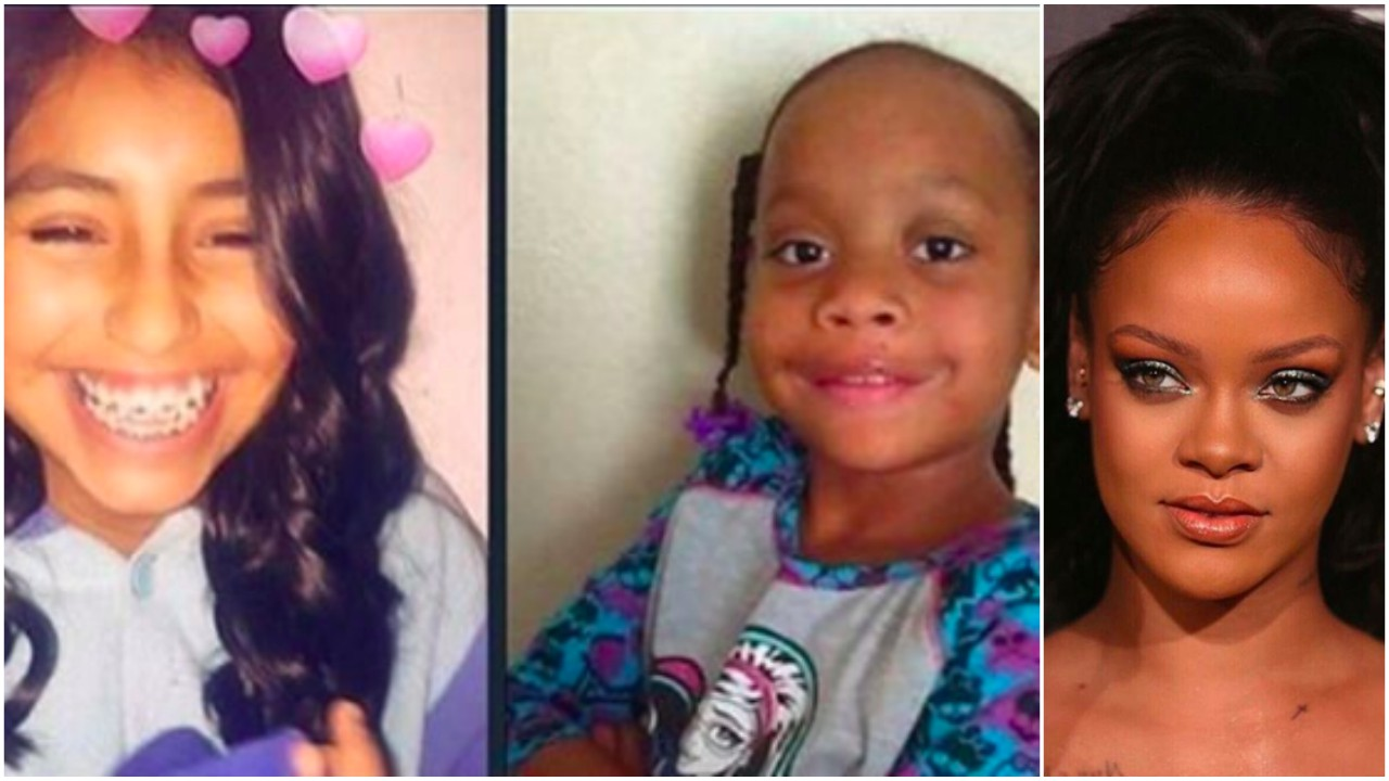 (L-R) Thirteen-year-old Rosalie Avila, 10-year-old Ashawnty Davis and Rihanna