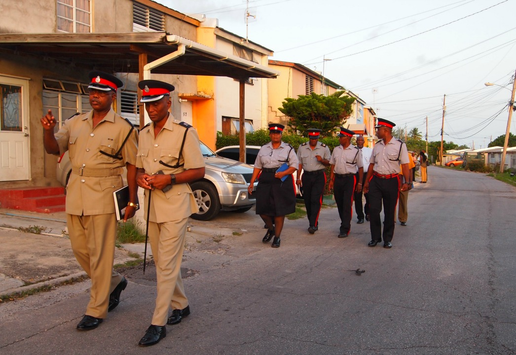 (File Photo) Police conducting a walkthrough in a community.