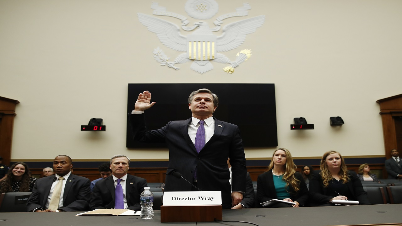 FBI Director Christopher Wray is sworn in during a House Judiciary hearing on Capitol Hill in Washington, Thursday, Dec. 7, 2017.