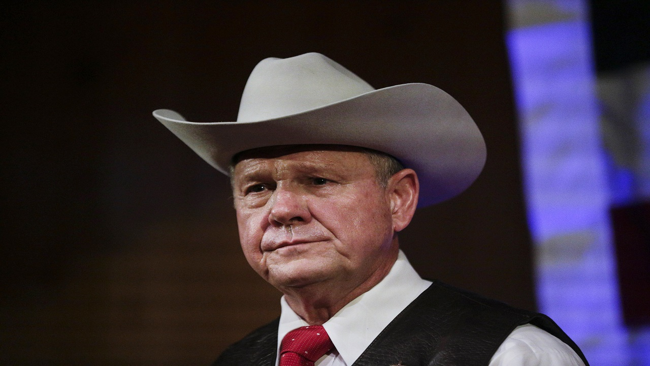 In this file photo, former Alabama Chief Justice and U.S. Senate candidate Roy Moore speaks at a campaign rally, in Fairhope Alabama. (AP Photo/Brynn Anderson, File)