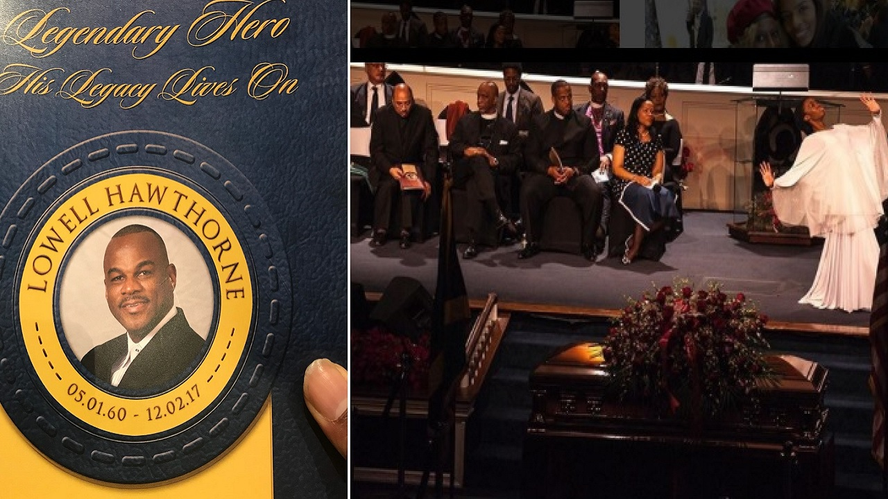 At left is the cover of the programme at late businessman Lowell Hawthorne's funeral in New York on Tuesday. At right, a dancer performs a dance during the service. (PHOTOS Jarayne Pinnock and Instagram)