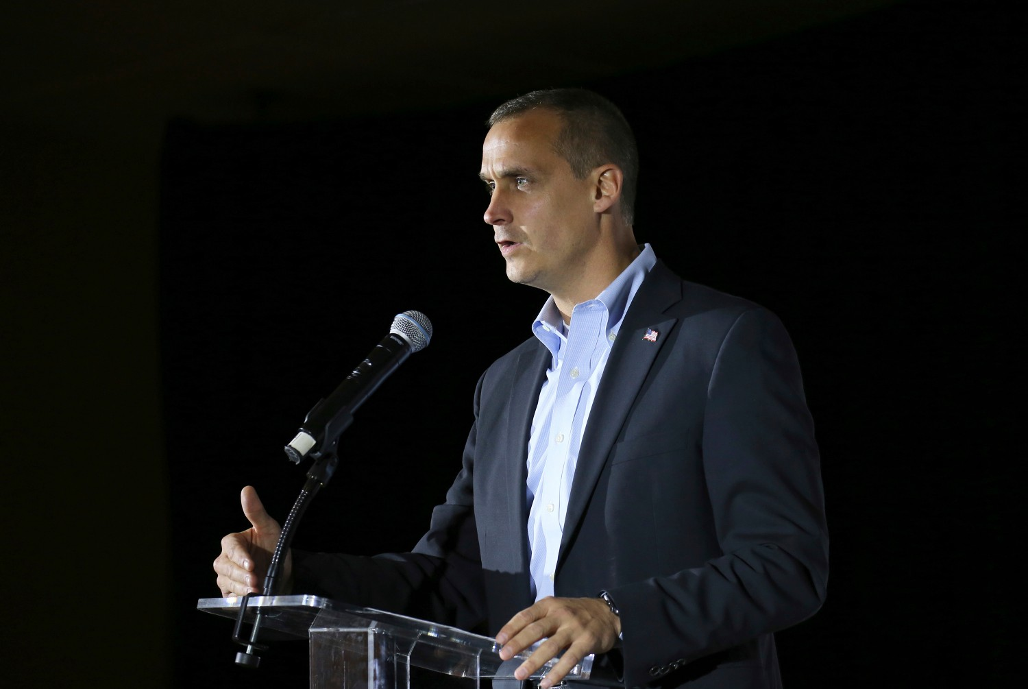 In this file photo, Corey Lewandowski, the former campaign manager for President Donald Trump, speaks during an event. (AP Photo/Mary Schwalm, File)