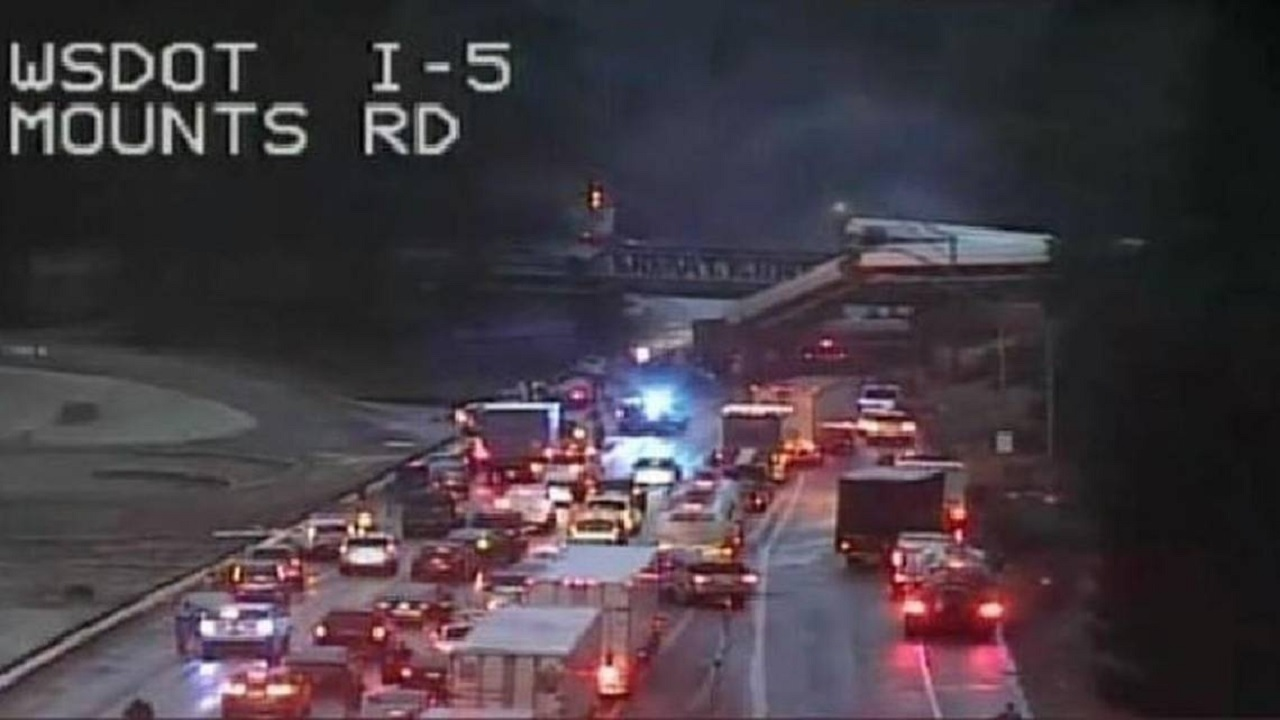 Screenshot circulating on Twitter of the Amtrak train dangling over a highway just south of Seattle on Monday.
