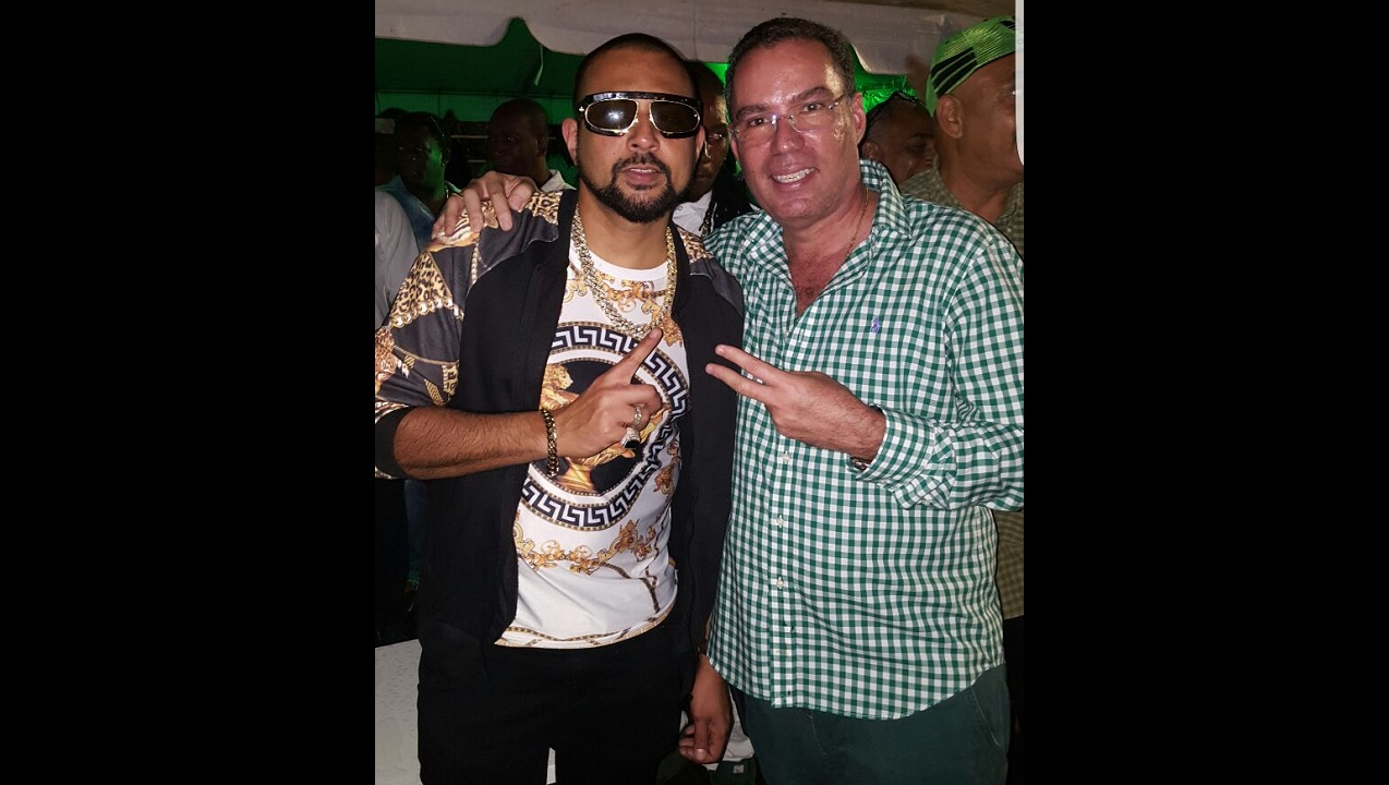 Sean Paul and birthday boy, West Portland Member of Parliament, Daryl Vaz, at Saturday night's show at Lynch Park, Buff Bay.