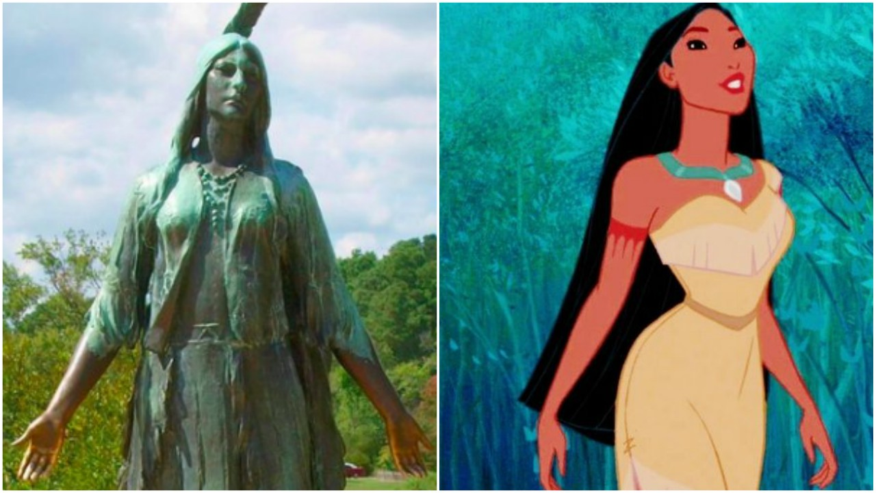 (L-R) Statue of Rebecca Rolfe (aka Pocahontas) in Jamestown, Virginia. Credit to http://flickriver.com, next to Disney's Pocahontas