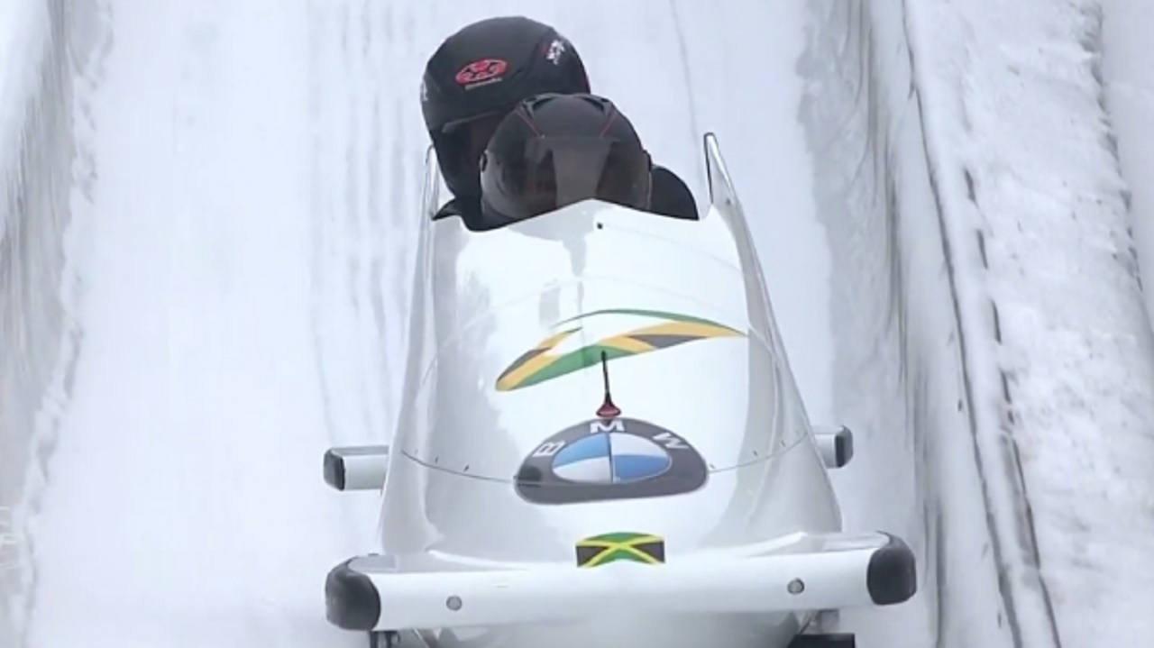 Jamaica's women's bobsled team in action at the World Cup in Germany on Saturday. (PHOTO: Twitter)