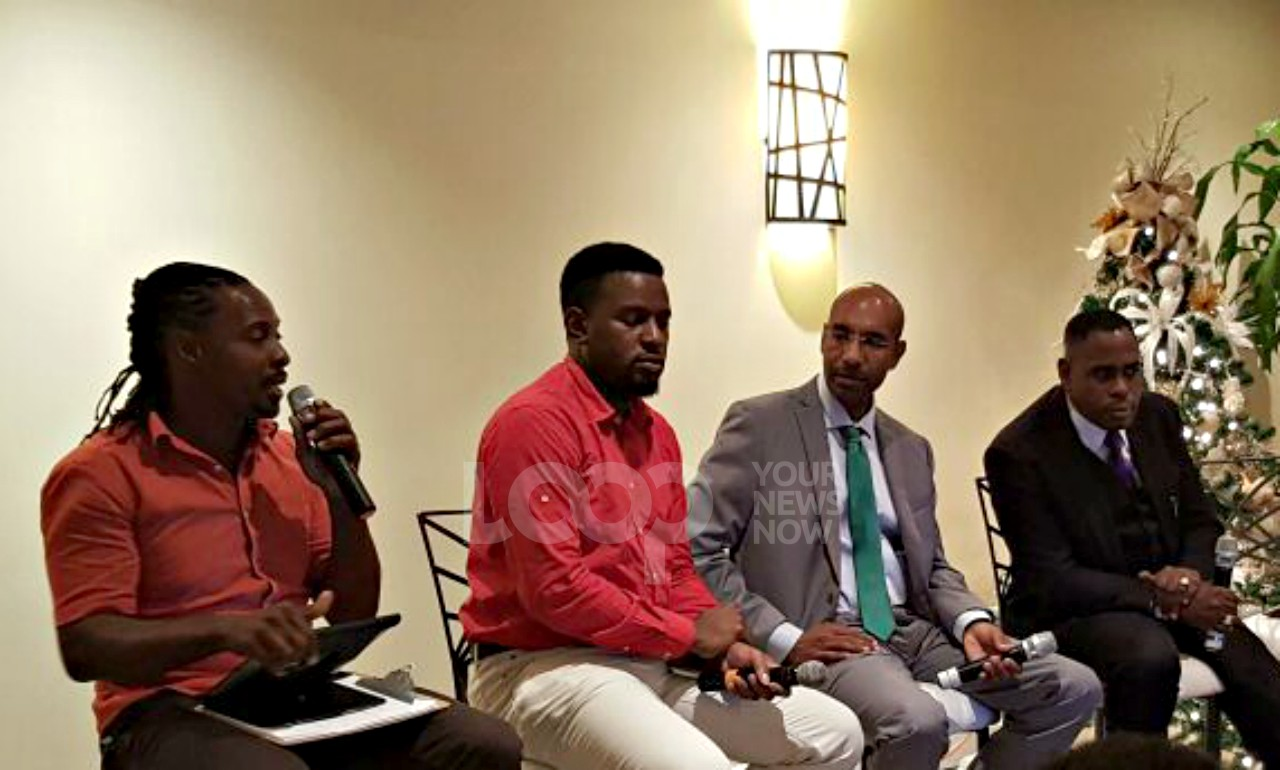 (L-R): UPP Candidate Everton Holligan, BLP Youth Representative Kevon Henry, Leader of Solutions Barbados Grenville Phillips and Apostle Lynroy Scantlebury of the New Barbados Kingdom Alliance were on the first DebateOne panel.