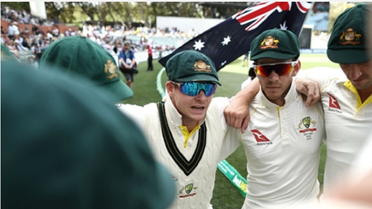 Australia captain Steve Smith delivers a team talk in Adelaide.