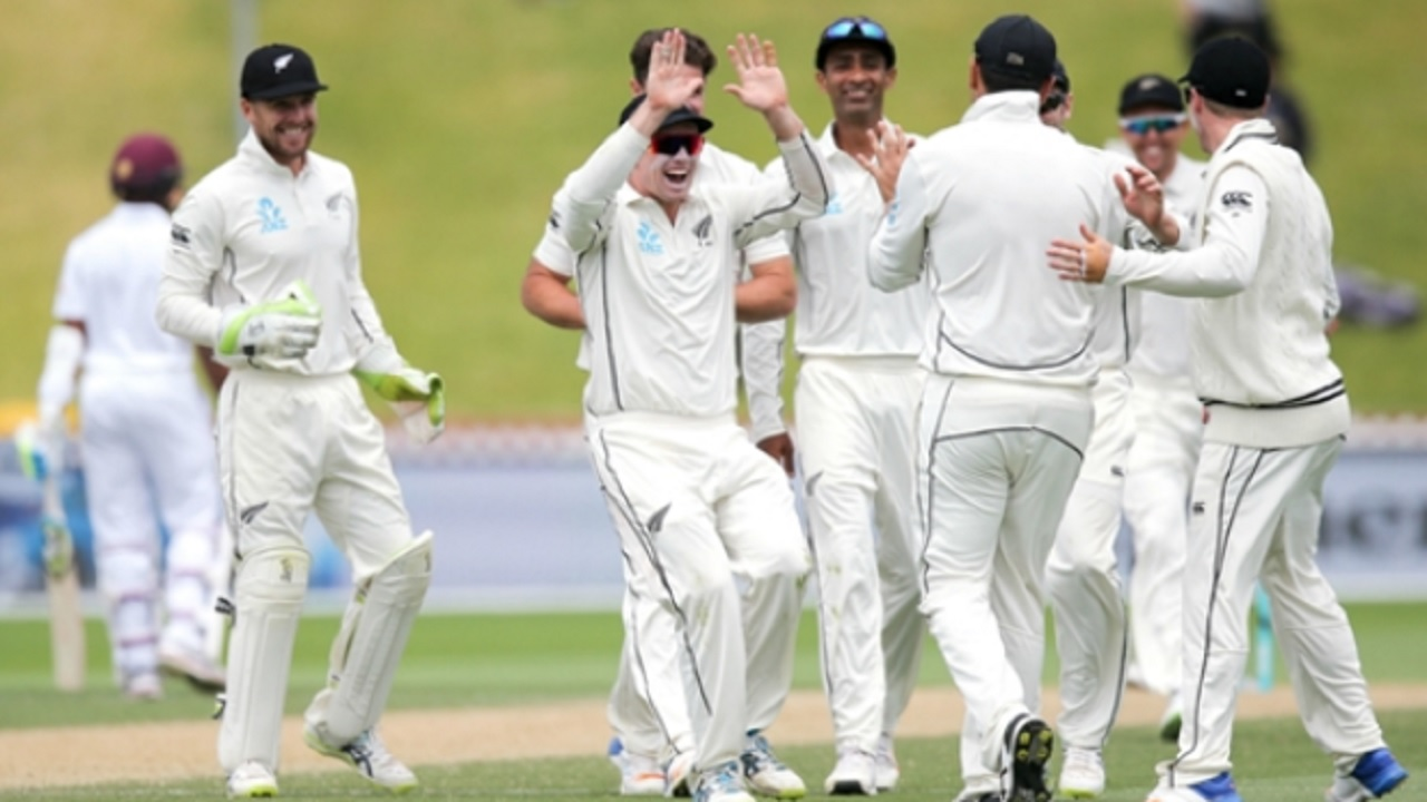 New Zealand celebrate their win over West Indies in the first Test in Wellington on Monday.
