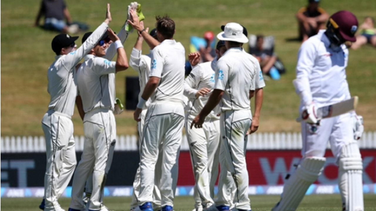 New Zealand celebrate their win over West Indies.