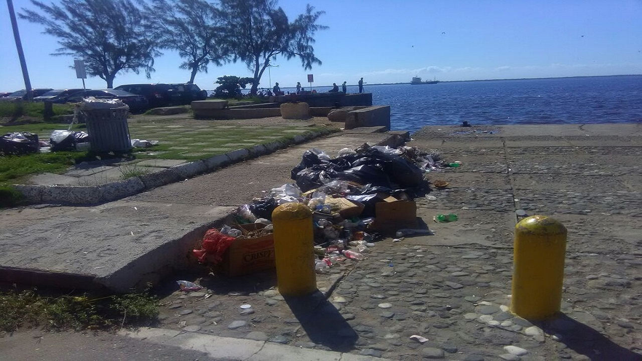 Photo of garbage pile up at the Kingston waterfront.
