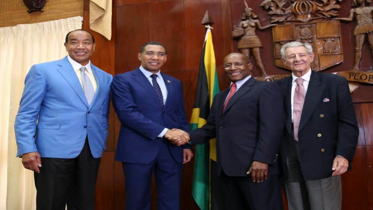 From left to right: EGC Chairman Micheal Lee-Chin, Prime Minister Andrew Holness, Senator Aubyn Hill, newly appointed executive director of the EGC and Hugh Hart, a member of the EGC.
