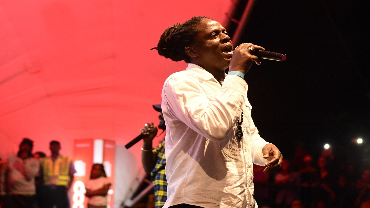 Reggae singer Richie Spice entertains the crowd at the free concert held at Emancipation Park on Thursday. Also on stage is event organiser Tarrus Riley (partially hidden). (PHOTOS: Marlon Reid)