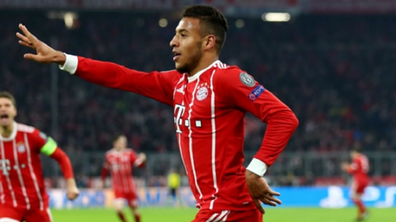 Bayern Munich's Corentin Tolisso celebrates a goal against PSG.