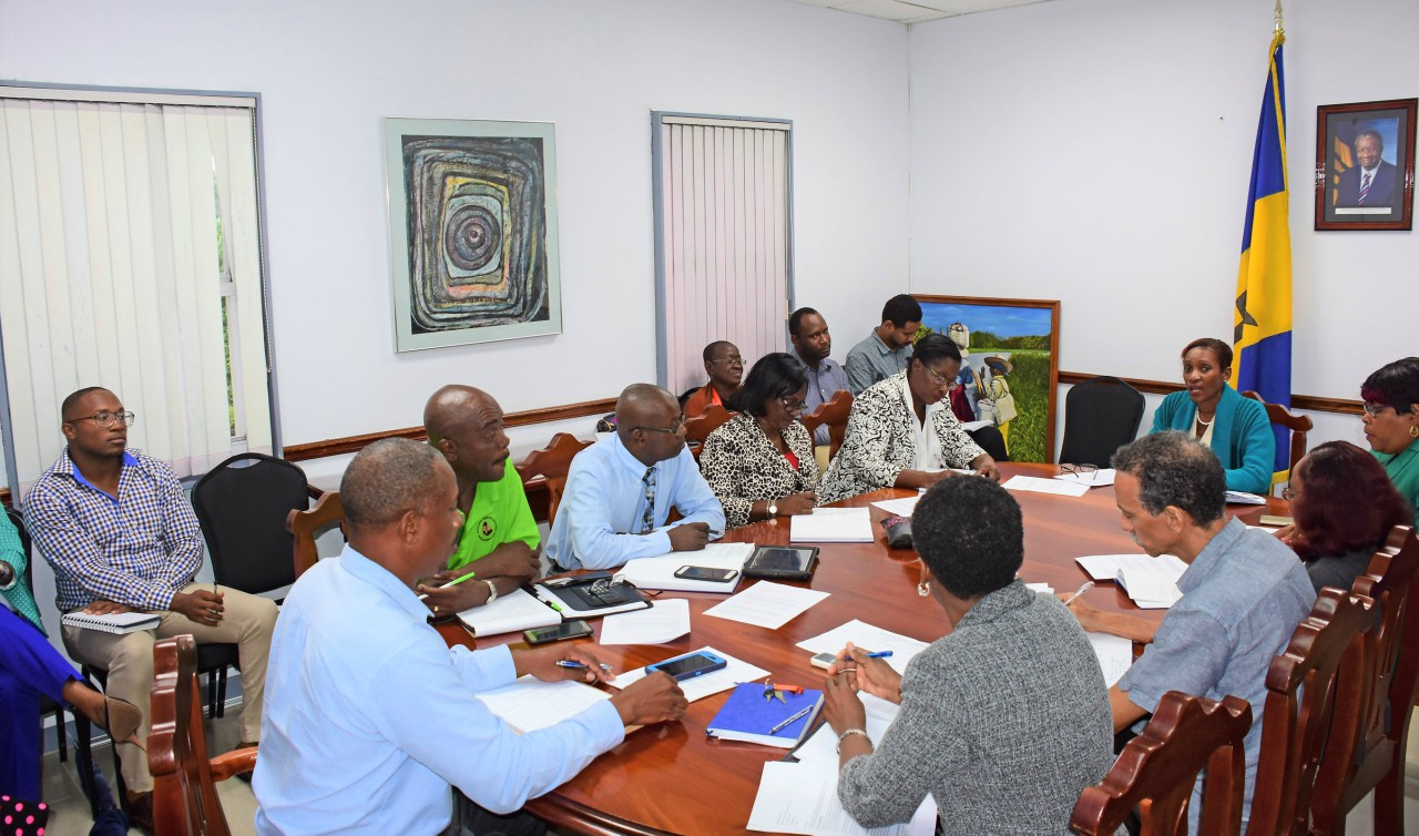 In this photo, Permanent Secretary, June Chandler (at head of table), is seen in discussion with President of the Barbados Union of Teachers (BUT), Pedro Shepherd (at centre, foreground), and members of the union's executive committee. (BGIS)