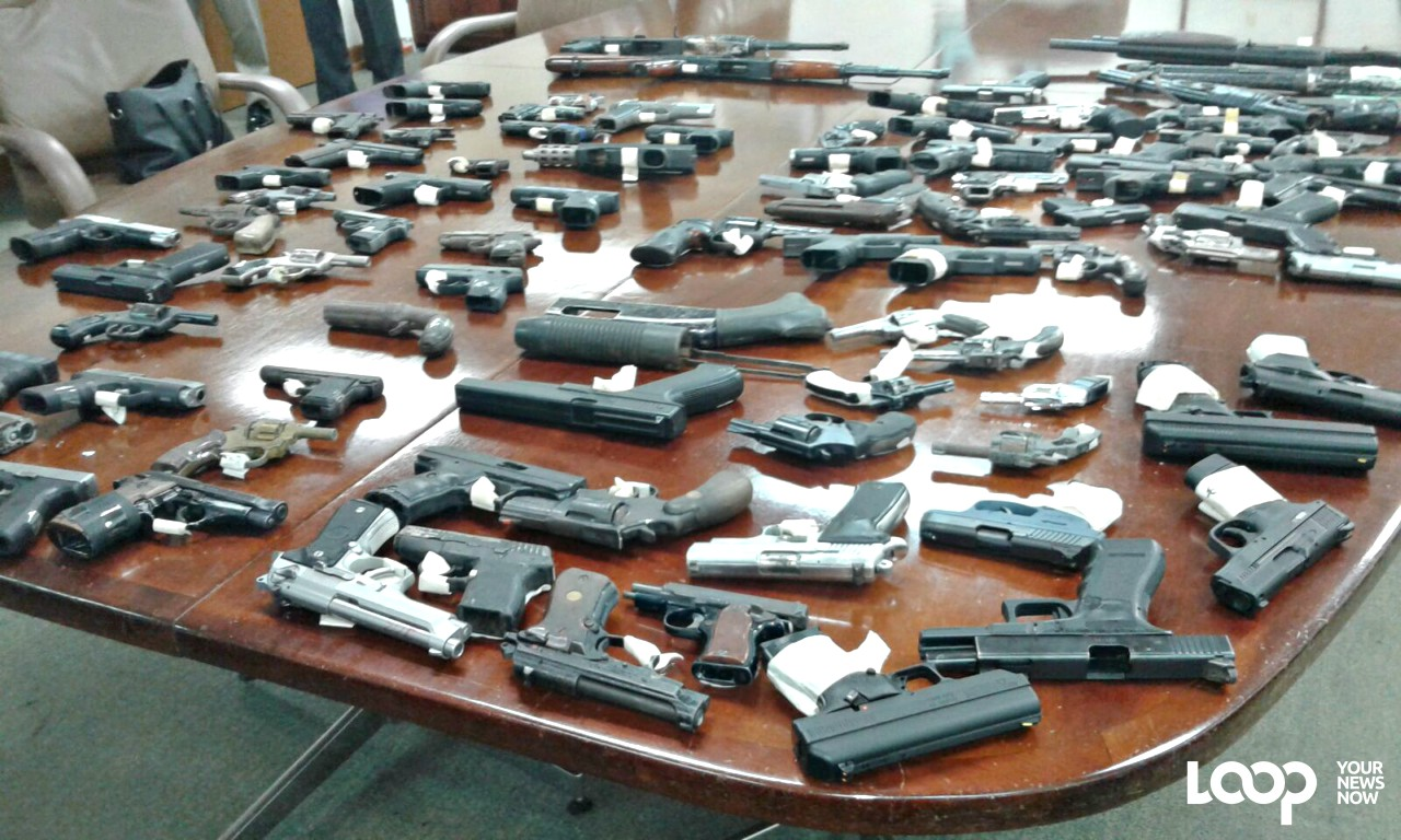 Seized guns on display