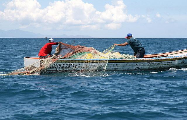 Cette image de deux pêcheurs dominicains en activité sur un bateau est utilisée à titre d'illustration. Photo : Noticiassin