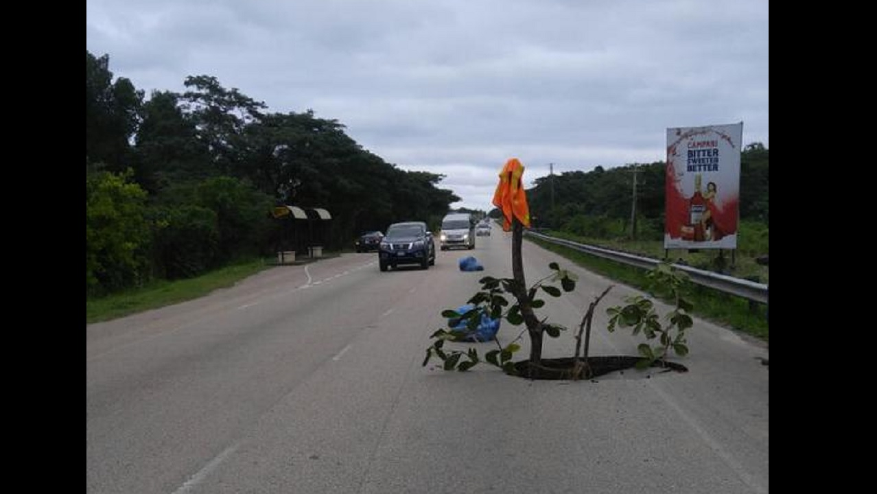 The collapsed section of the North Coast Highway near Hague, Trelawny.