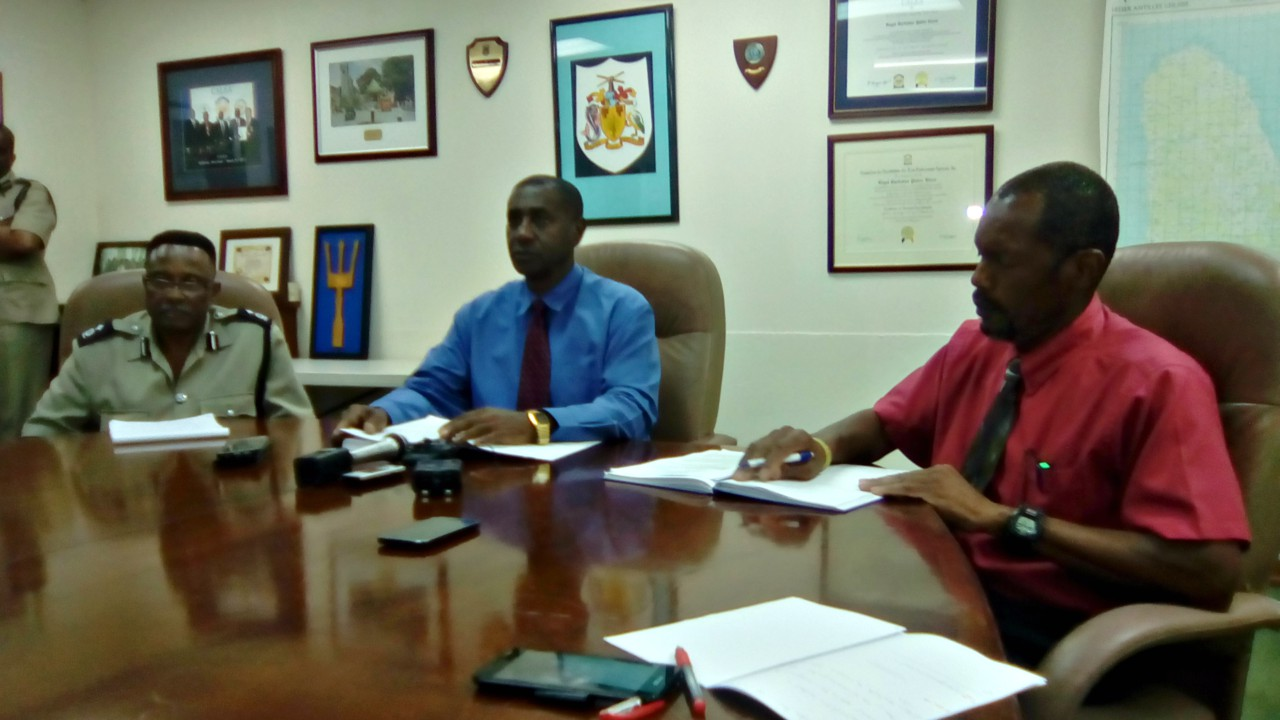 Photo caption: (l-r) Assistant Commissioner of Police, William Yearwood, Assistant Commissioner of Police, Colvin Bishop and Superintendent David Griffith in charge of the Criminal Investigation Department (CID).