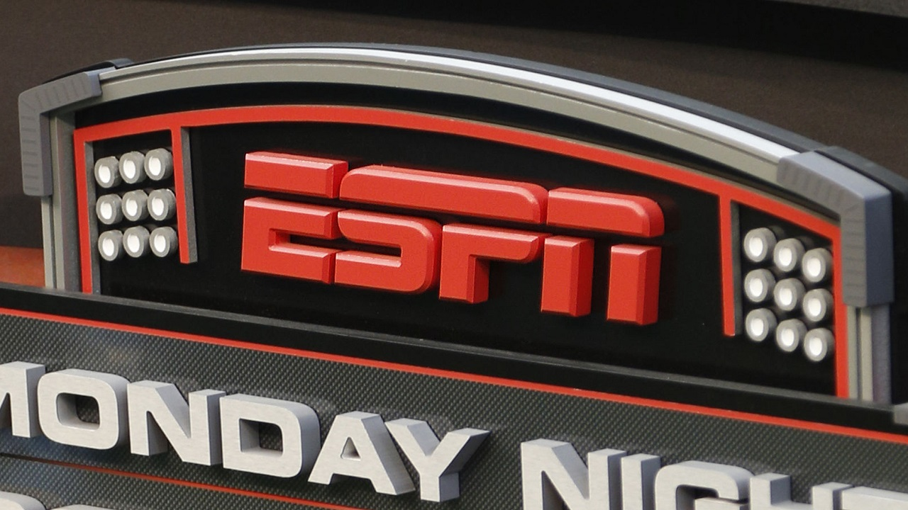 This Sept. 16, 2013, file photo shows the ESPN logo prior to an NFL football game between the Cincinnati Bengals and the Pittsburgh Steelers, in Cincinnati.