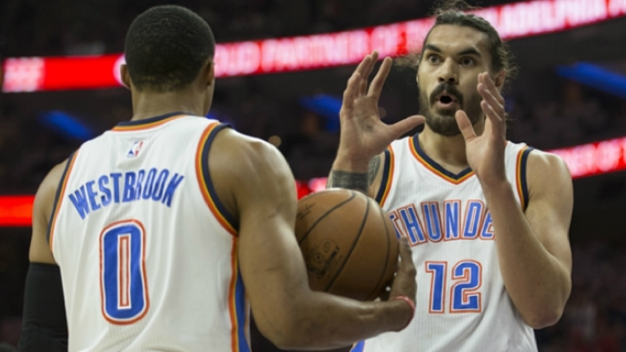 Russell Westbrook and Thunder team-mate Steven Adams.