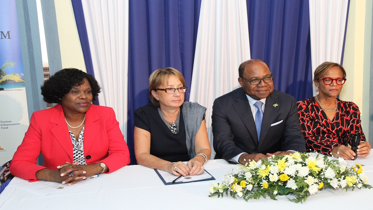 From left to right: Permanent Secretary in the Ministry of Tourism, Jennifer Griffiths, Galina Sotirova Country Manager World Bank Group, Tourism Minister Edmund Bartlett and Therese Turner-Jones, General Manager, Caribbean Country Department Inter-American Development Bank.