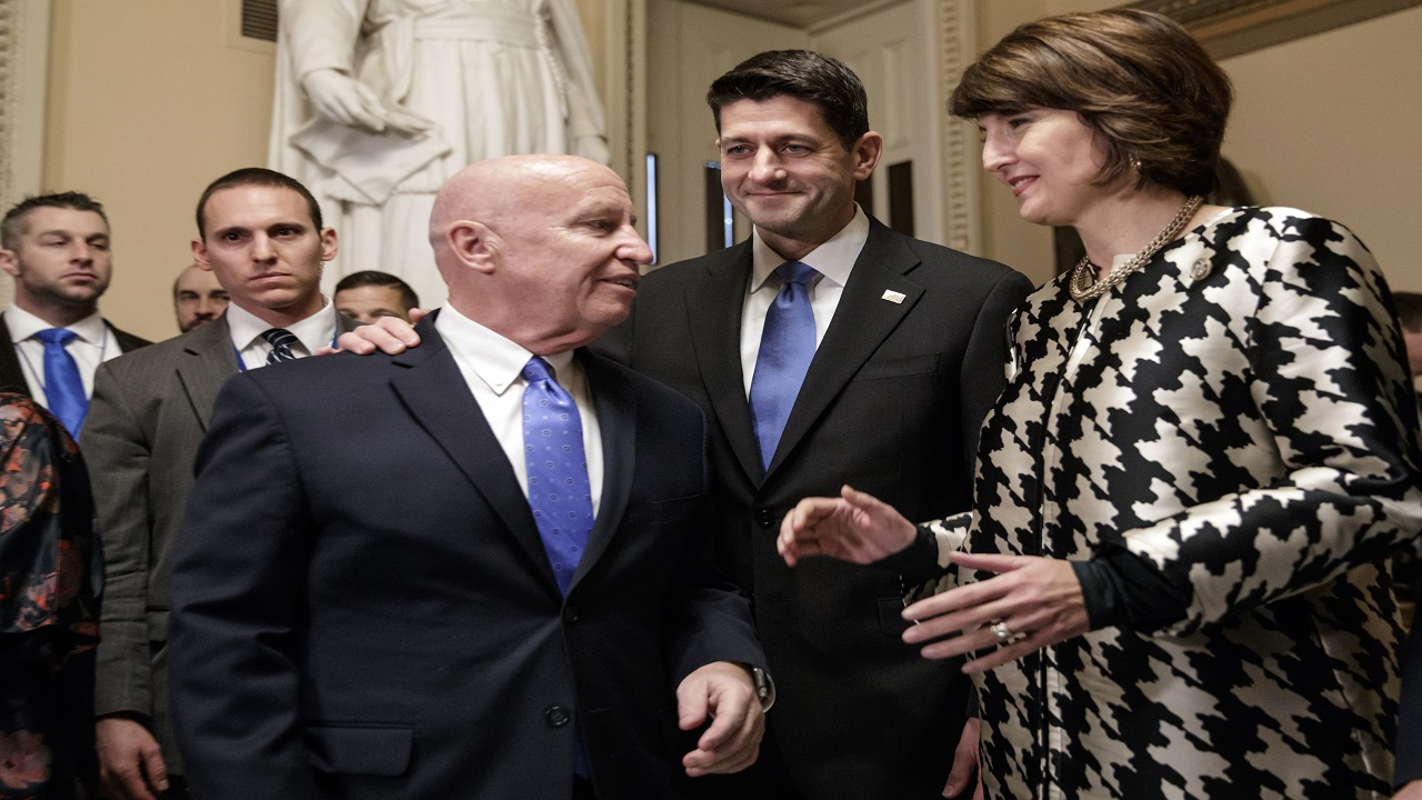 From left, House Ways and Means Committee Chairman Kevin Brady, R-Texas, Speaker of the House Paul Ryan, R-Wis., and Rep. Cathy McMorris Rodgers, R-Wash., chair of the Republican Conference, prepare to speak to reporters after passing the GOP tax reform bill in the House of Representatives, on Capitol Hill, in Washington, Tuesday, Dec. 19, 2017.