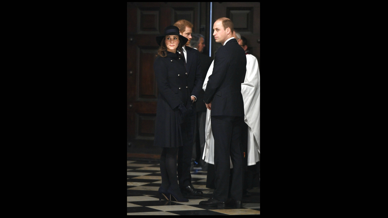 Britain's Prince William, right, Kate, the Duchess of Cambridge and Prince Harry attend the Grenfell Tower National Memorial Service at St Paul's Cathedral in London, to mark the six month anniversary of the Grenfell Tower fire. (Stefan Rousseau/Pool Photo via AP)