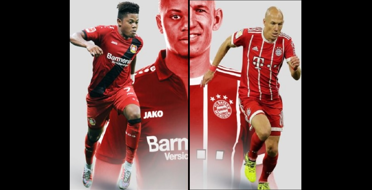 Leon Bailey (left) and Arjen Robben. (Images: Official Bundesliga website)