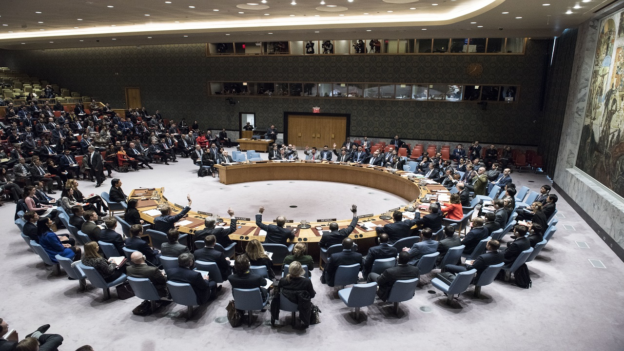 In this Monday, Dec. 18, 2017 photo, the Security Council votes on a resolution concerning Jerusalem's status at United Nations headquarters.