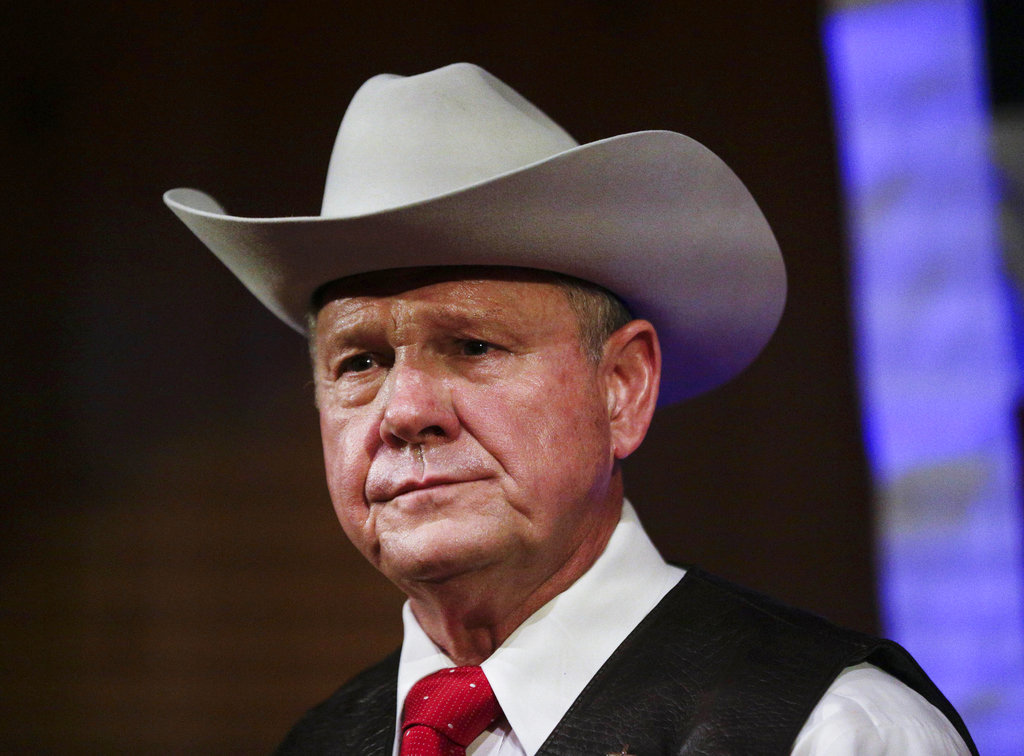 In this file photo, former Alabama Chief Justice and U.S. Senate candidate Roy Moore speaks at a rally, in Fairhope, Alabama. (AP Photo/Brynn Anderson, File)