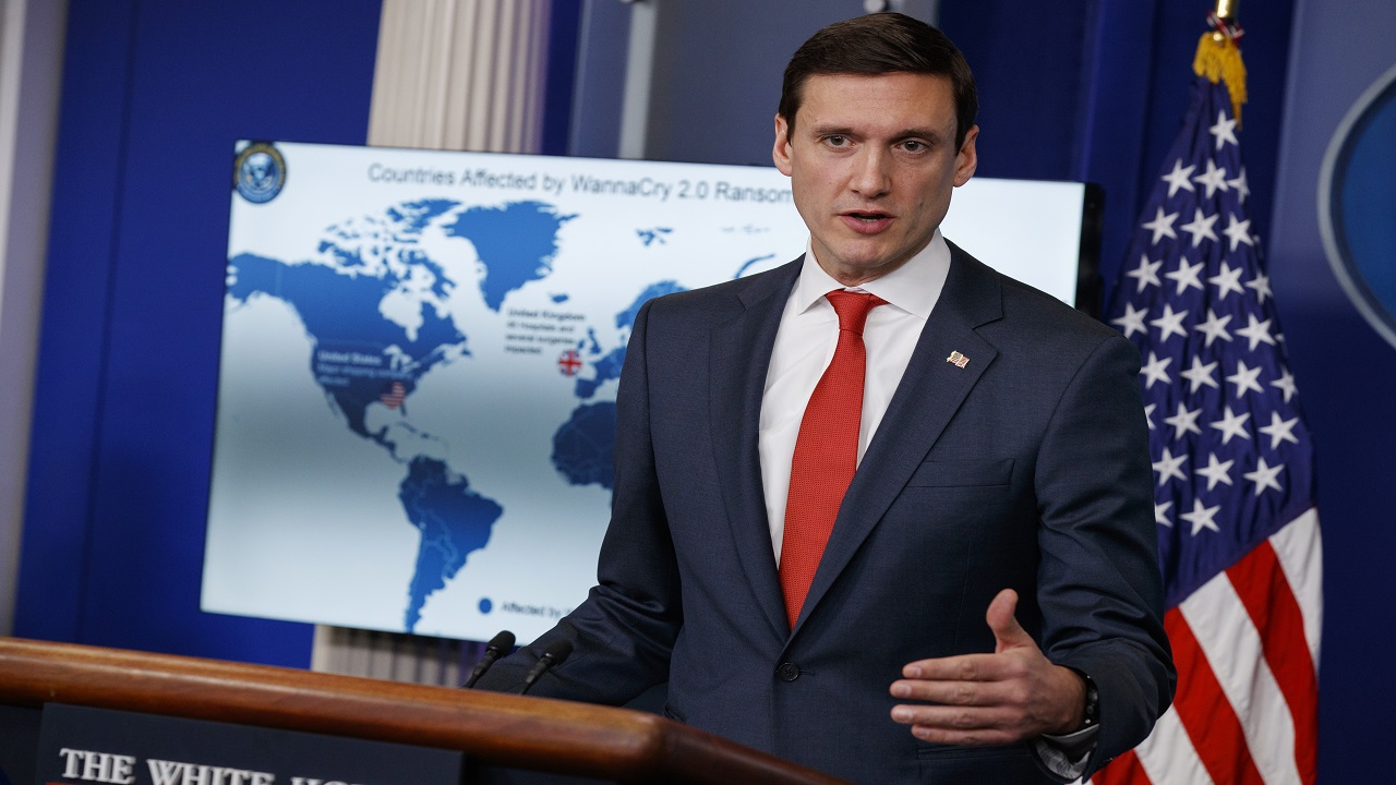 White House Homeland Security Adviser Tom Bossert speaks during a briefing blaming North Korea for a ransomware attack that infected hundreds of thousands of computers worldwide in May and crippled parts of Britain's National Health Service, at the White House, Tuesday, Dec. 19, 2017, in Washington.