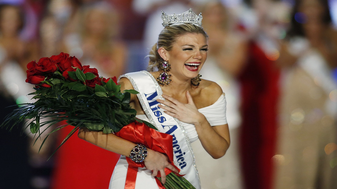 In this Jan. 12, 2013 file photo, Miss New York Mallory Hytes Hagan reacts as she is crowned Miss America 2013 in Las Vegas.