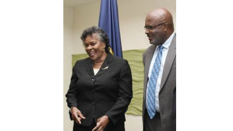 The Honourable Sandra Prunella Mason, Justice of Appeal (left), with Attorney General Adriel Brathwaite (right). (Photo: Sandra Prunella Mason